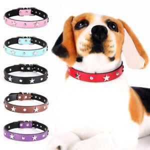 Star Stud Pet Collar Leather Puppy Collars Small Medium Dog Cat Neck Strap