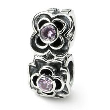 Pink CZ Connector Bead .925 Sterling Silver Antique Finish Reflection Beads