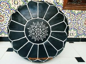Black Foot stool Leather Round  Poof Pouffe Hassock Moroccan footstool