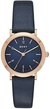 NEW DKNY Minetta Rose Gold-Tone & Navy Leather Three-Hand Women Watch NY2617