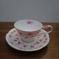 M R Table Fashion Bone China Taiwan Teacup & Saucer with Pink Flowers