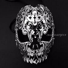 Silver Skull Light Metal Laser Cut Diamond Rhinestones Venetian Masquerade Mask