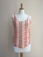 ZARA Red Green Yellow Patterned Scoop Low Back Linen Vest Camisole Top - SMALL