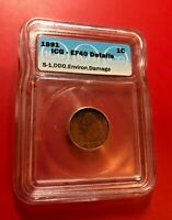 1891 Indian Head One Cent US Penny ICG EF40 DETAILS S-1 DOUBLE DIE OBVERSE