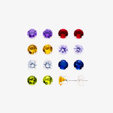 925 Sterling Silver Multi-color CZ Round Stud Earrings, 4mm - 7 Pairs Set