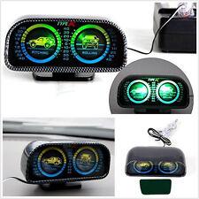 DC12V Two-barreled Green LED Backlight Car Trcuk Inclinometer Slope Meter Gauge