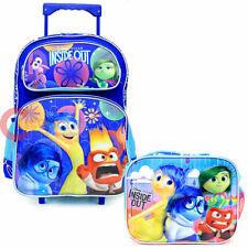 """Disney Inside Out 16"""" Large School Roller Backpack Lunch Bag 2pcSet-Emotion Rain"""