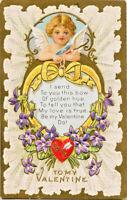Antique Valentine~CUPID SENDS BOW~LOVE POEM~VIOLETS~LACE~Gold Embossed Postcard