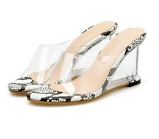 Womens Open Toe Clear Transparent Wedge Heels Snake Print Sandals Slides Shoes