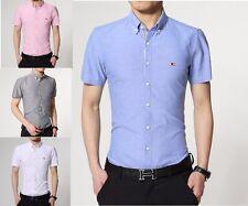 Mens Short Sleeve Shirts Casual Dress Formal Slim Fit Shirt Top S M L XL PS16