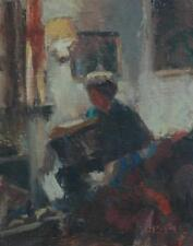Impressionist Oil on Board of a Seated Woman Reading Book artist Susan Grisell
