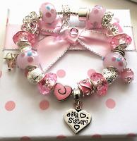 Lilac SNOWFLAKE Sparkling Personalised Charm Bead Bracelet GIFT BOX Girls Pink