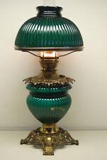 ANTIQUE ART DECO NOUVEAU OIL KEROSENE EMERALD GREEN GWTW STUDENT RIBBED LAMP