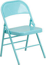 Lot Of 4 Hercules Colorburst Series Tantalizing Teal Metal Folding Chair
