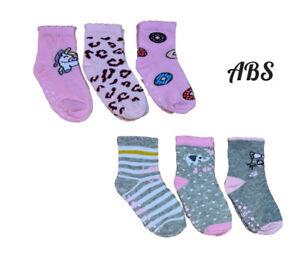 Baby Toddler Girls ABS Cotton Soft Anti Non Slip Socks 3 Pairs Size 6-24 Months