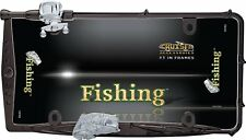 Premium Custom Fishing Black Fish & Rod License Plate Tag Frame for Car-Truck