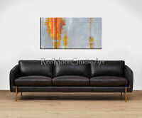 48x24 Abstract Art - Painting Gray Orange Yellow Green - US Artist Mid-Century