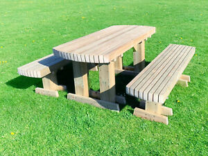 NEW HANDMADE PRESSURE TREATED WOODEN GARDEN PATIO TABLE BENCH SET 4FT 5FT 6FT
