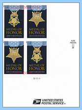 4822e-23e Medal of Honor 2013 WWII Army Navy Imperf LR Plate Block 4 No Die Cuts