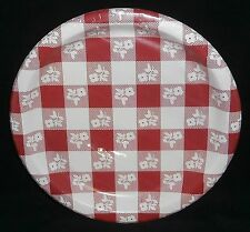 """Plastic Coated Plates  Red and White Squares 8 Ct. 8-7/8"""""""