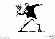 banksy flower throw stencil print canvas poster art painting Australia