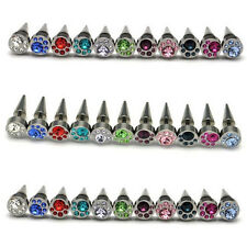 11pairs/lot 8mm titanium steel Moon Shape Crystal Tip Cone Unisex Screw earrings