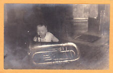 Real Photo Postcard RPPC Baby & Tuba Music Musician