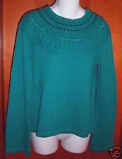 NWT Apostrophe Short Teal L/S Sweater Beaded Medium