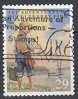 USA Briefmarke gestempelt 29c Huckleberry Finn Roman Mark Twain / 3403
