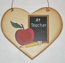 Primitive Country mini heart sign A+ Teacher Home Wall decor New Gift
