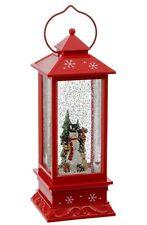 "Raz Imports 11"" Lighted SNOWMAN Water Globe timer 3600767 Snow Globe Lantern red"