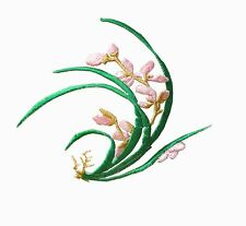 #6779 Pink,Green Orchid Flower Embroidery Iron On Applique Patch