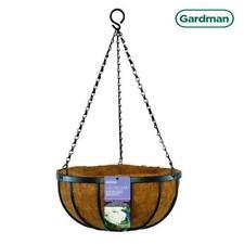 Gardman Georgian Hanging Basket Black Wrought Iron Effect Co-Co Liner 30cm