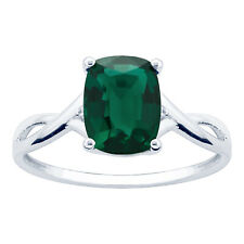10K White Gold 1.76ct TW Emerald and Diamond Ring - Green