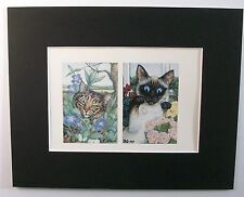 Cat Print Zoe Stokes Garden Lilium Periwinkle Colored Bookplate 1982 8x10 Matted