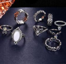 Fashion 10Pcs/Set Women Boho Vintage Silver Punk Knuckle Finger Midi Rings