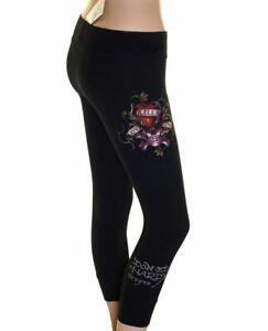 New Women's Ed Hardy Stretch Cropped Leggings Xsmall Size 6-8 Love Kills Slowly