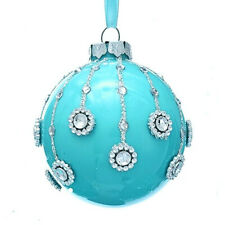 "3.5"" Tiffany Blue Glass Ball Christmas Ornament Tree Decor by Kurt Adler"