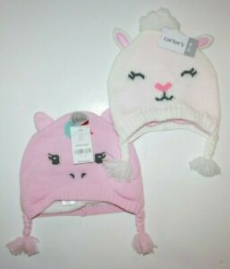 Carter's girls' Unicorn Pink Hat Beanie Winter Warm Size New NWT $24.00