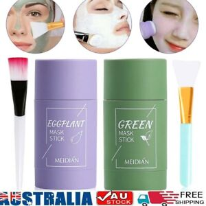 Green Tea Eggplant Purifying Clay Stick Mask Skin Oil Control Anti-Acne Solid AU