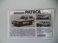 advertising Pubblicità 1983 NISSAN PATROL DIESEL 4X4