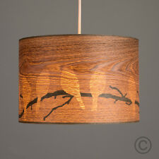 Contemporary Bird Pattern Wood Veneer Cylinder Ceiling Pendant Light Shade Home