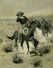 Frederic Remington Cowboys Wall Art Reproduction Print on CANVAS Western 8x10