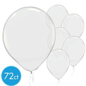 72ct ~ Clear Solid Color Latex Balloons High Quality Amscan Party Supplies ~12in