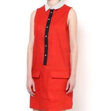 New AJ Armani Jeans Linen Button Down Shirt Dress Size 40 M Red Navy White $295