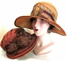 Beautiful! Vintage Antique Early 1900's Flapper Hats Lot of 2 As Is