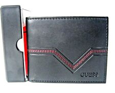 $42 Guess Mens Multicards Passcase Leather Wallet Black/Red 31GO220008 New