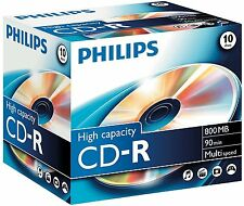 10x Philips High Capacity CD-R 800MB 90MIN 40x Jewel case