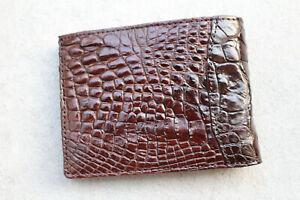 Genuine Alligator Crocodile Leather Skin Men's Money Clip Bifold Wallet Brown