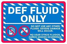 10 Pack DEF Fluid Only Decal Bilingual English & Spanish 5x7.5